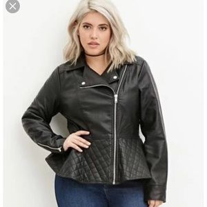 Forever21+ Quilted Peplum Moto Jacket Size 3X